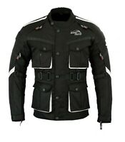 New Mens Black Motorcycle Waterproof Cordura Textile Jacket Motorbike CE Armours