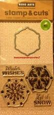 HERO ARTS Stamp & Cuts WINTER WISHES LET IT SNOW Clear Stamps w/Matching Dye Cut