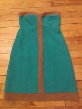 Britt Ryan Anthropologie Teal & Brown Textured Dress W/ Pockets, Size 6