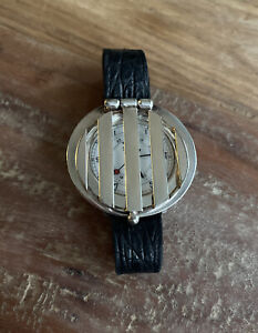 *ESTATE Silver Stainless Steel Swiss Covered Face Flip Up Wristwatch Steampunk*