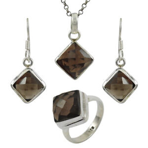 Natural Smoky Quartz Ring Earring Pendant Set 925 Sterling Silver Jewelry RS35