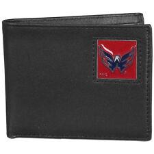 washington capitals logo nhl ice hockey leather bi-fold wallet usa made