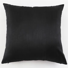 "Black Silk-Like Plain Throw Pillow Case Decor Home Bed Cushion Cover 18""/45cm"
