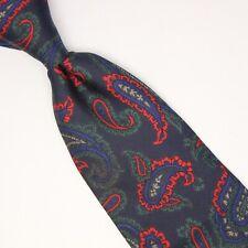 Etro Mens Silk Necktie Navy Blue Green Red Paisley Print Made in Italy Tie