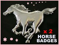 Horse Gift Present Silver Chrome Badge X 2 Sticker Pony Horses Box Feed Treats