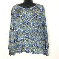 J Crew Silk Blouse Womens size 8 Blue Green Paisley Long Sleeve Button Cuffs