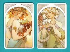 2 Single Swap Playing Cards Stunning Lady Signed Art By Mucha Nouveau Girls