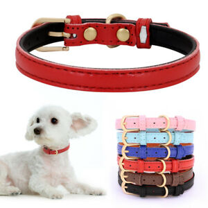 Soft Plain PU Leather Small Dog collar Adjustable for Cats Puppy Yorkshire Pug