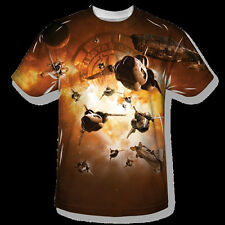 Battlestar Galactica Dog Fight Sublimation Front Print T-Shirt New Unworn