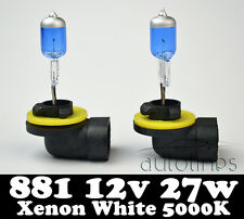 2 x 881 27W PGJ13 12V Xenon White 5000k Car Head Light Fog Lamp Globes Bulbs