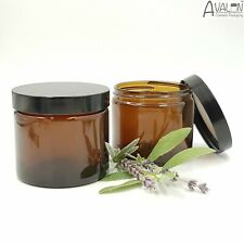250ml BIG amber glass jar Black Lid empty candle container cosmetics CLEARANCE