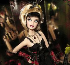 NRFB BARBIE ~ 2008 HARD ROCK CAFE PUNK GOTH GOTHIC GOLD LABEL DOLL GUITAR & PIN