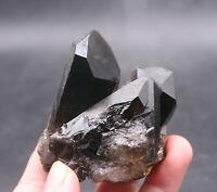 180g Natural Beautiful Black Quartz Crystal Cluster Mineral Specimen Rare