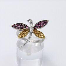Levian 14K White Gold Ruby Yellow Sapphire Pave' Diamond Dragonfly Ring Sz 6.25