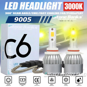 9005 LED Headlight Bulb High Low Beam Light 3000K Golden Yellow 100W 20000LM DRL