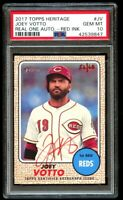 2017 Topps Heritage Joey Votto Red Ink Real One Auto PSA 10 Gem Mint Pop 9