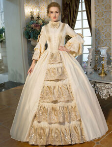 Wedding Beige long sleeve tunic Vintage costume Ball Gown maxi prom Dresses