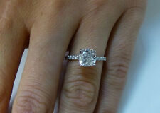 1.50 Ct. Natural Cushion Cut Pave Diamond Engagement Ring - GIA Certified
