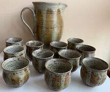 Vintage 60s Hand Crafted Studio Pottery Ceramic Pitcher Cups Mid Century Deyoe