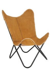 Brown Butterfly Chair Real Suede Leather Accent Chair Lounge Seat Furniture