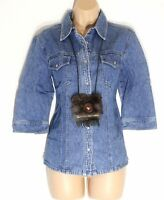 Women's Vintage STREET ONE 3/4 Sleeve Fitted Blue Denim Jeans Shirt Blouse UK12