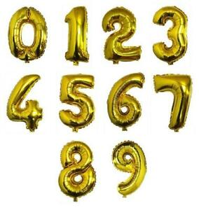 Party : Gold Number Foil Balloon Party Decor 1 pc
