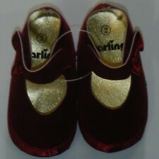 Darling Baby Shoes Wine Velvet w/Satin Bow Size Infant 2