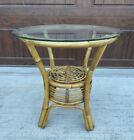 Mid Century Round Glass Top Natural Rattan & Bamboo End Table Boho Chic Natural