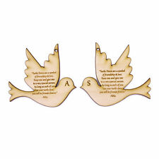 Personalised hanging wooden 2 Turtle Doves with friendship & love verse