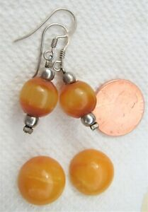 2 Pairs Sterling Silver Butterscotch Egg Yolk Amber Earrings Vintage