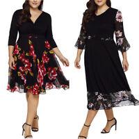 Plus Size Women Dresses V Neck Wrap Chiffon Floral Long Sleeve Prom Party Dress