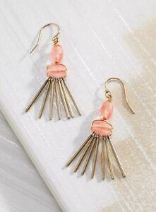 ❤️Silpada Sweet Pea Brass Peach Pink Quartz Dangle/Drop Fringe Earrings KRW0053