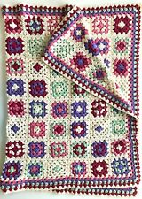 Vintage Handmade Blanket Afghan Crochet Knit Granny Square Patchwork Throw 66 42