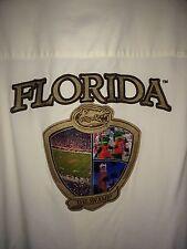 Florida Gators Mens L S/S Silk Hawaiian Camp Shirt Cream The Swamp Appliqué