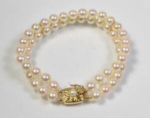 Mikimoto Double Strand Pearl Bracelet, 18K Gold