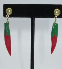 Handcrafted Dangle Earring Painted Wooden Chili Peppers Spicy Gold Tone CHIC