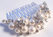 Desire Accessories Rhinestone Crystal & Ivory Pearl Bridal  Hair Comb Bridesmaid