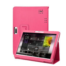 Universal Folio Leather Stand Cover Case for 10 10.1 Inch Android Tablet PC UK Hot Pink