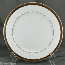 """New Traditions China Dinner Plate 10.5"""" White with Gold Encrusted Rim Fair"""