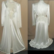 "VTG M-L 46"" OLGA Long Floor Length IVORY NYLON/LACE PEIGNOIR ROBE DRESSING GOWN"