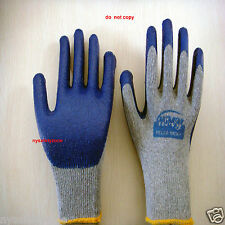 240 Pairs Premium Blue Latex Rubber Coated Palm Work Gloves