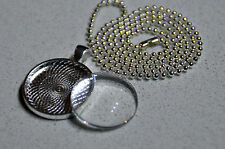 """10 x DIY round silver plated pendant kit - 1"""""""