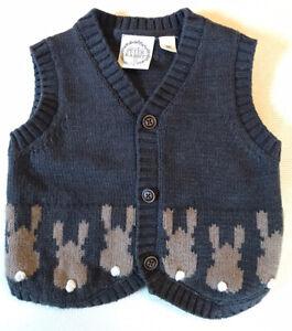 Peter Rabbit Size 00 Baby Knit Vest Charcoal Grey