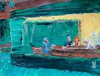Nighthawks Diner American Abstract Realism Palette Knife Art Original Painting