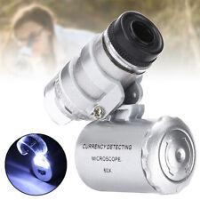 60x Pocket Microscope LED UV Jewellery Glass Magnifier Jewellers Loupe LED US