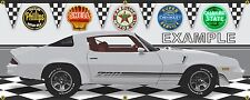 1981 CHEVROLET CAMARO Z28 SILVER/WHITE CAR GARAGE SCENE BANNER SIGN ART 2' X 5'