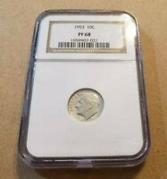 1953 10c SILVER ROOSEVELT DIME, HIGH-GRADE PROOF COIN *NGC PF 68*