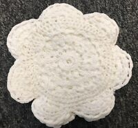 "12 PCS 6"" Vintage Handmade Round Crochet Doily Doilies Cup Mat Coaster - White"