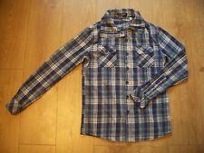 Camisa de cuadros azul y blanca (Talla S) pequeño cuello alto con mangas largas de pull -