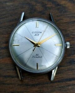 Beauty! Vintage Citizen Ace cal.107 21j dress manual wind Japan watch runs work